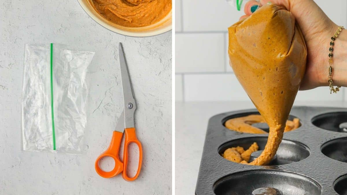 Piping baked pumpkin donut batter into a donut pan.