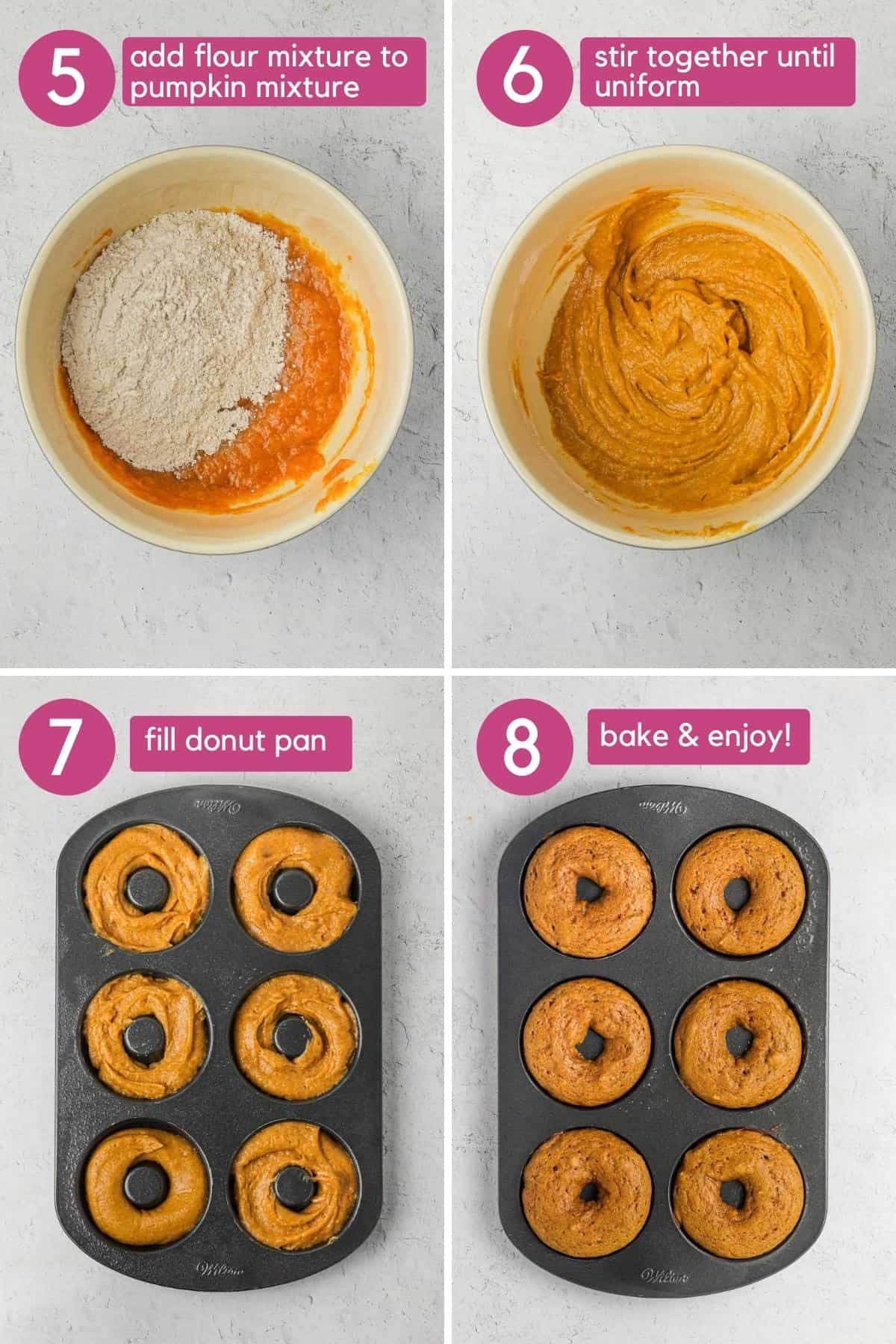 Putting baked pumpkin donut batter into donut pan to bake.