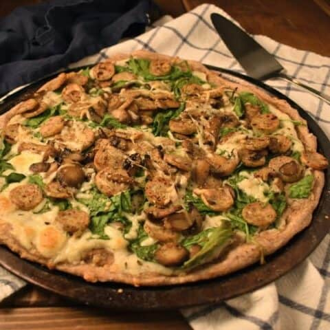 Whole Wheat Chicken Sausage, Spinach and Mushroom Pizza With Creamy Cauliflower Sauce