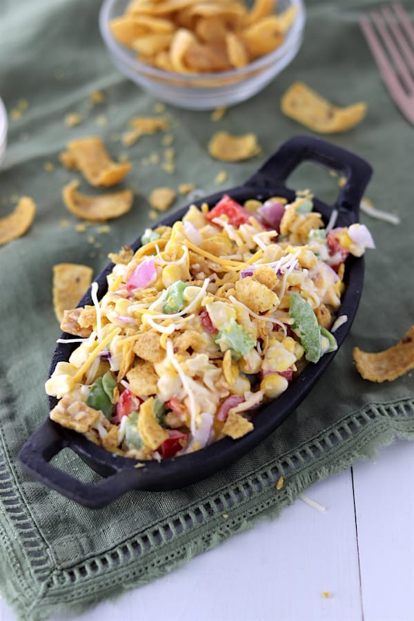 Light Potluck Corn Salad with crushed Fritos