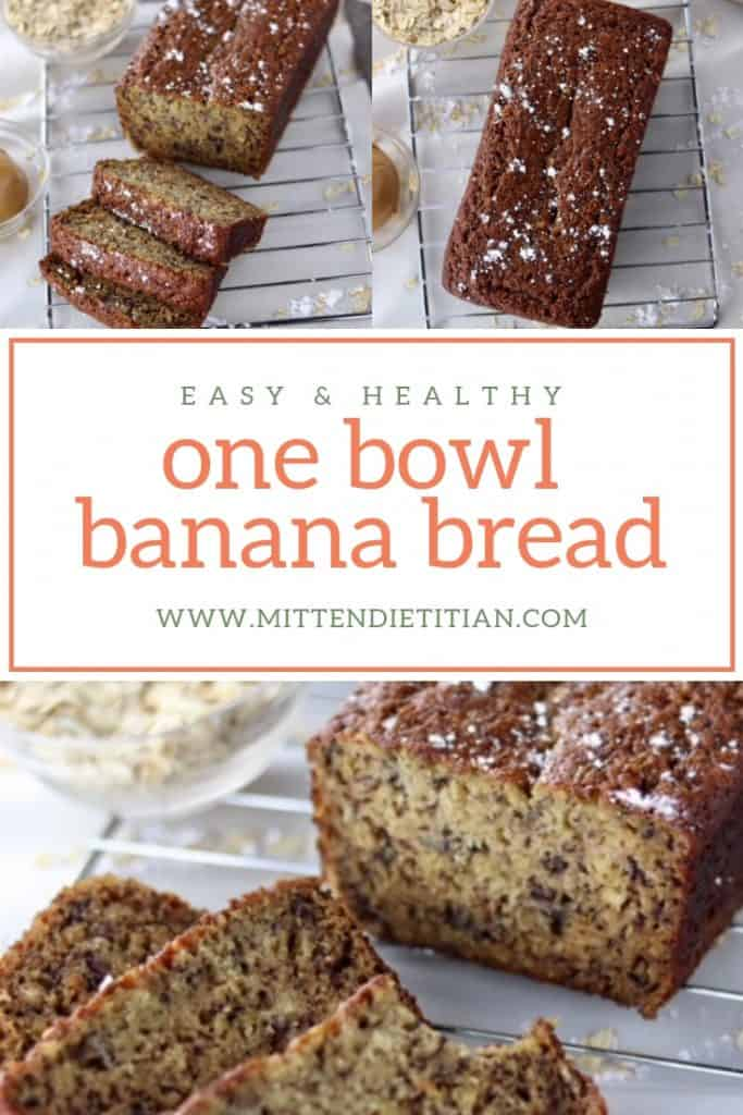 Finally! An easy & healthy one bowl banana bread recipe! Just as delicious as grandma's but WAY more nourishing! Made with whole wheat or oat flour and applesauce in place of butter! #bananabread # healthybaking #bananabreadrecipe