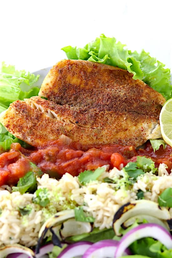 Southwest Tilapia Salad Fish Shot