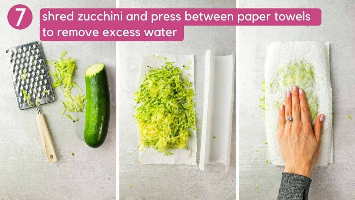 how to remove excess water from shredded zucchini.
