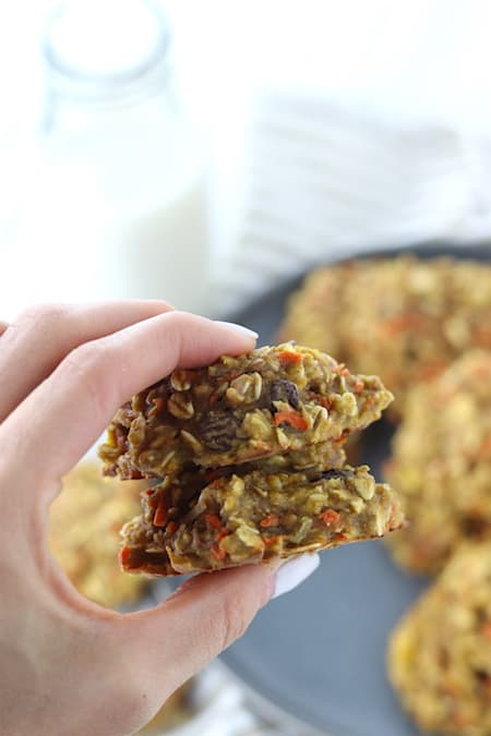 two morning glory breakfast cookies in hand