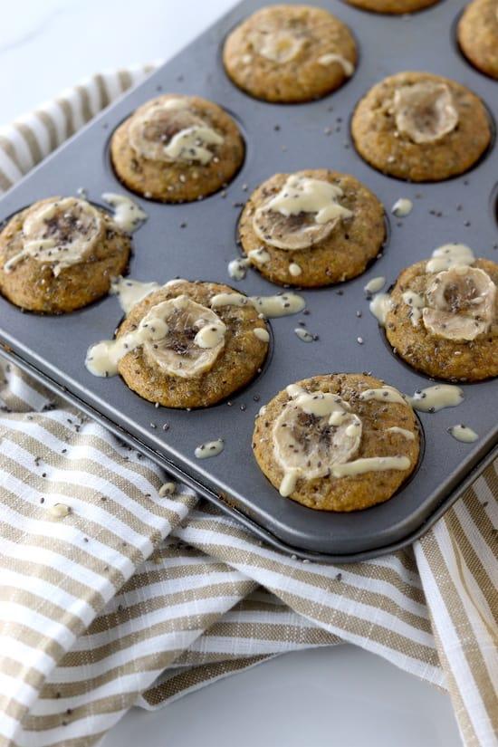chia tahini banana muffins