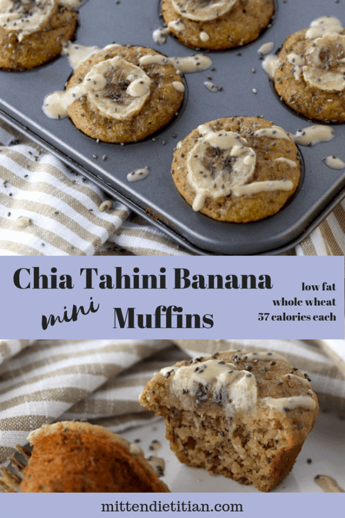 Low fat, whole wheat and only 57 calories! These chia tahini banana muffins are an easy, healthy breakfast to start your day!