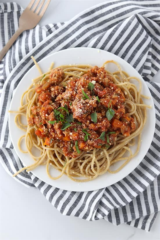 turkey bolognese top view