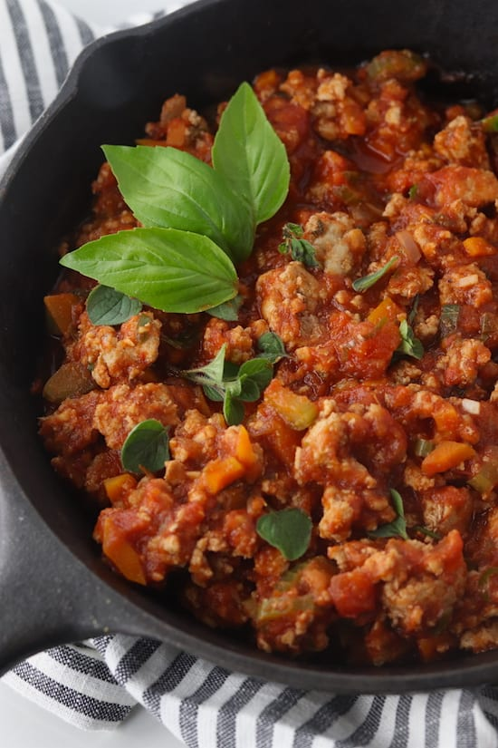 turkey bolognese sauce in a skillet