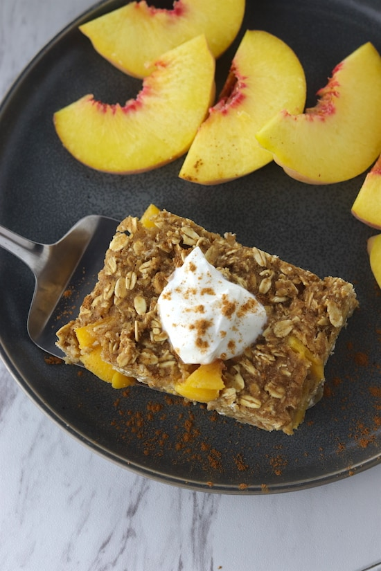cinnamon peach baked oatmeal top angle