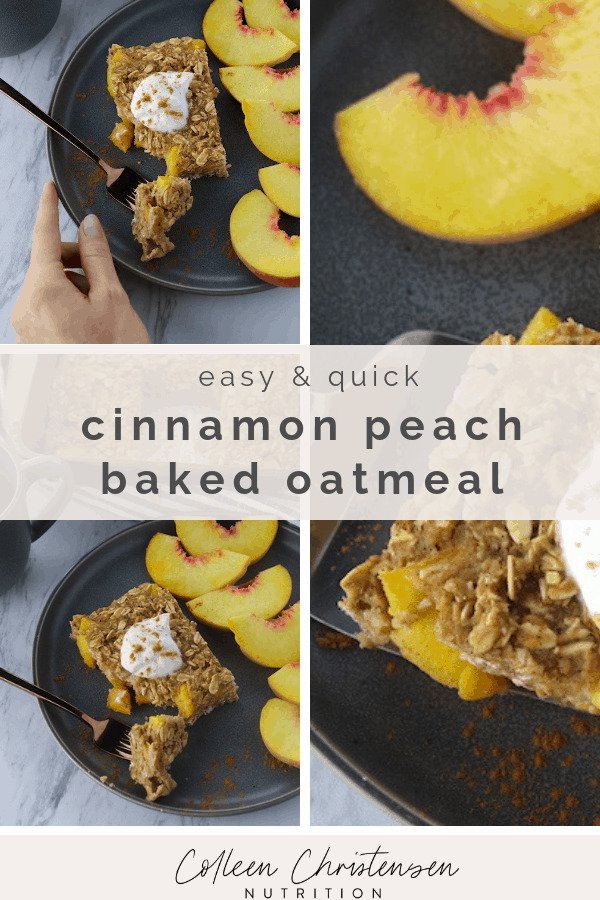 easy and quick cinnamon peach baked oatmeal