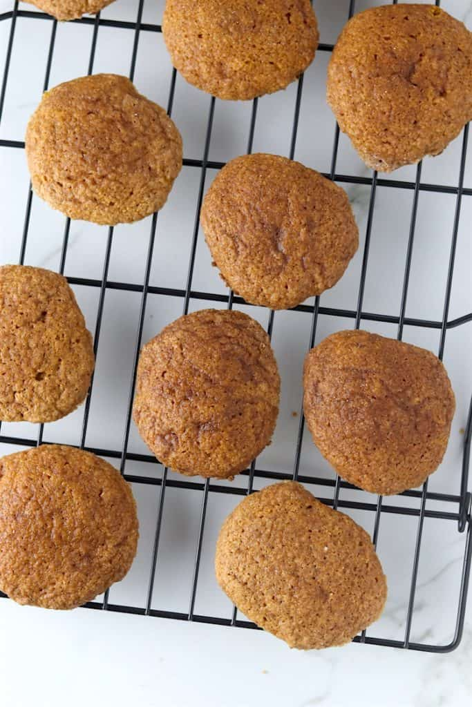 soft baked pumpkin snickerdoodle batch on a cooling rack
