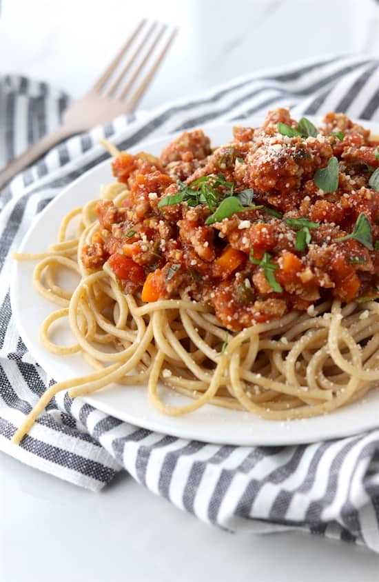 Turkey bolognese on plate