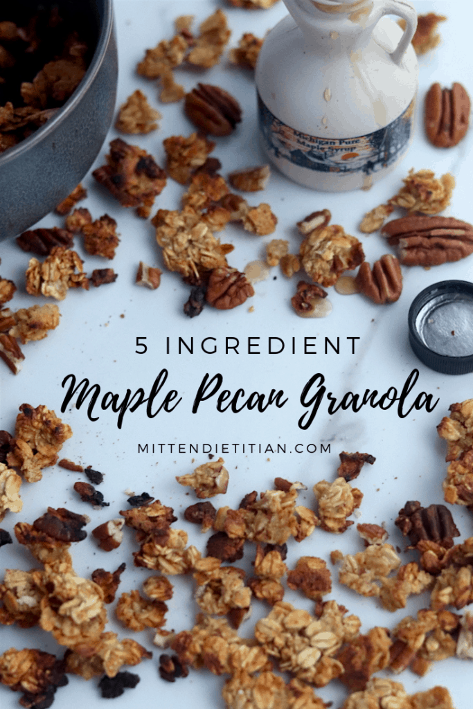 This easy and healthy 5 ingredient maple pecan granola is out of this world! #easy #healthy #glutenfree #granola #maplepecan #glutenfreerecipes