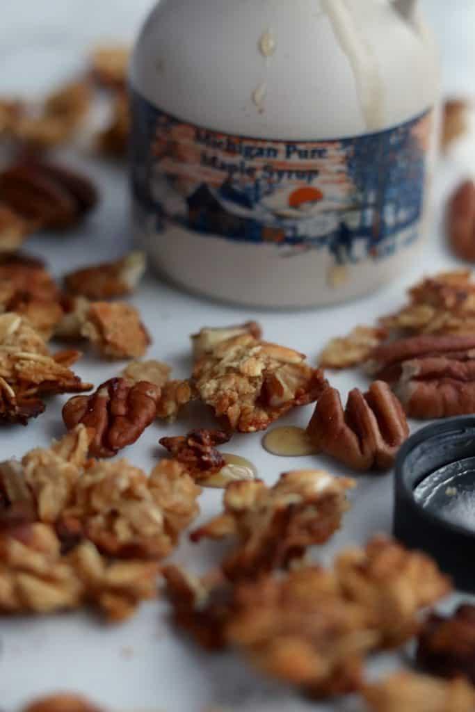 5 ingredient maple pecan granola up close