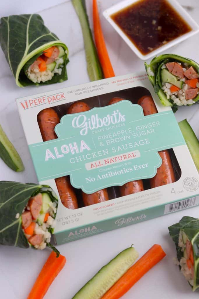 Aloha Chicken Veggie Wrap with soy ginger dipping sauce