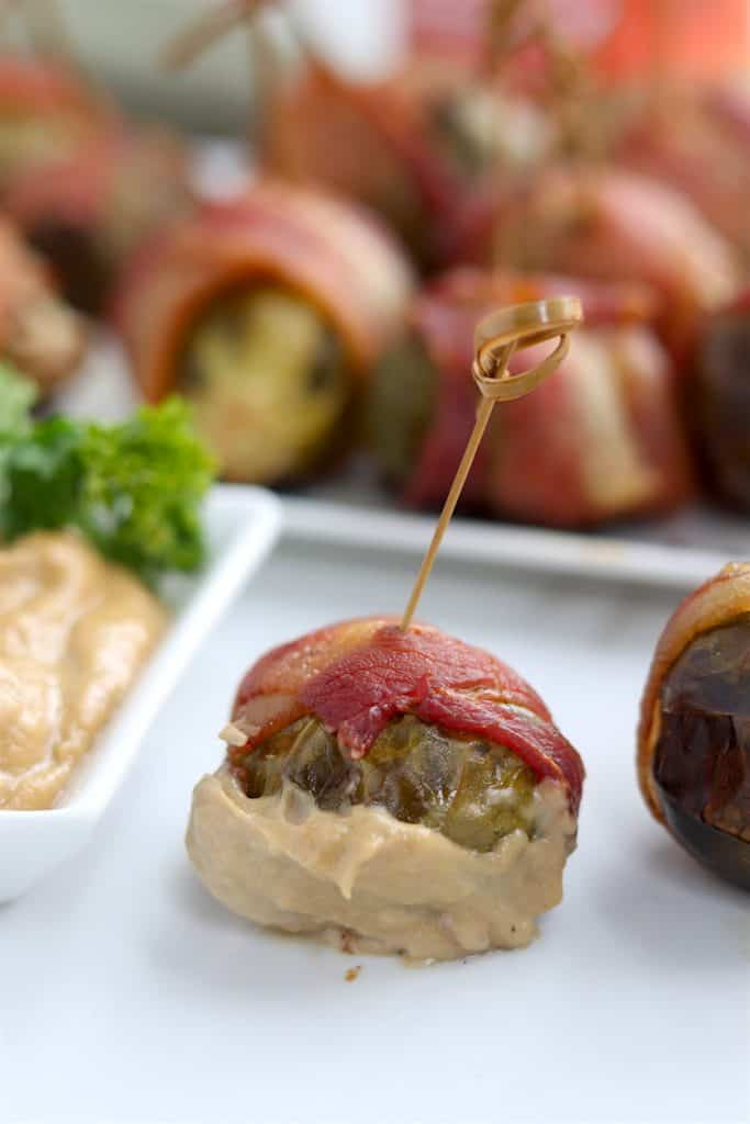 bacon wrapped brussels sprouts with Sunbutter aoli
