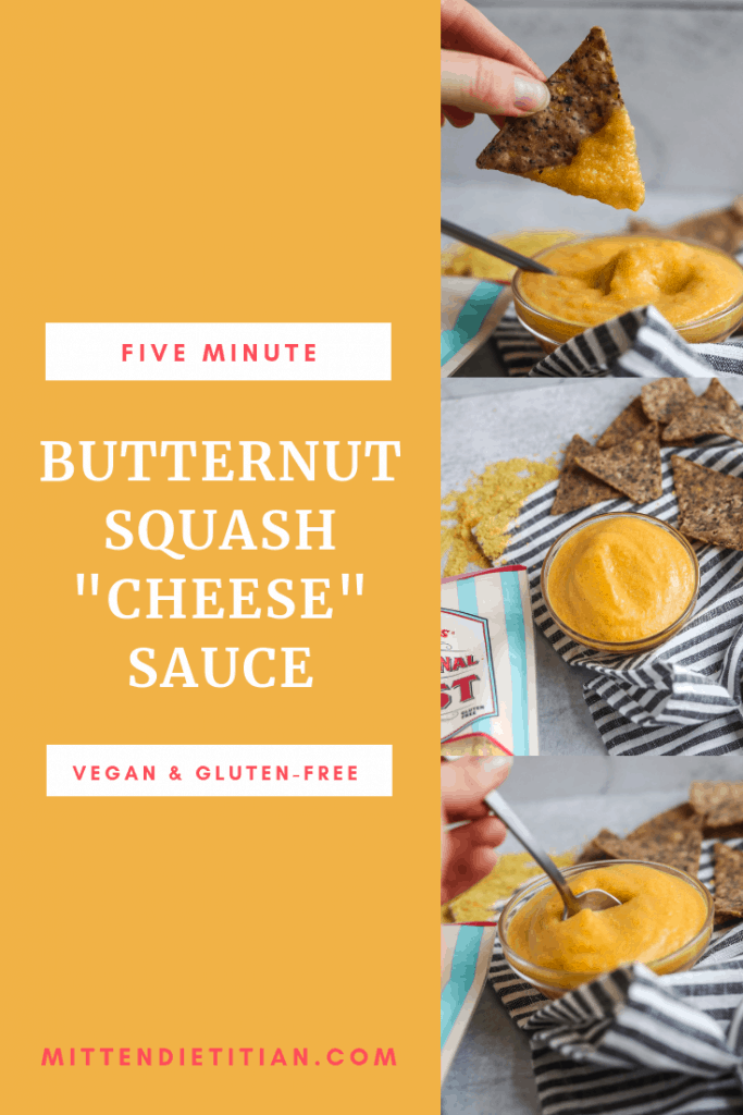 Vegan and Gluten Free f5 minute butternut cheese sauce! It is SO easy to make and you'll want to add it to ALL of the things!  #healthy #glutenfreerecipes #veganfood #veganrecipes #cheesesauce #dietitian