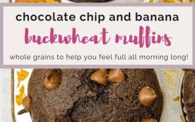 chocolate chip and banana buckwheat muffins.
