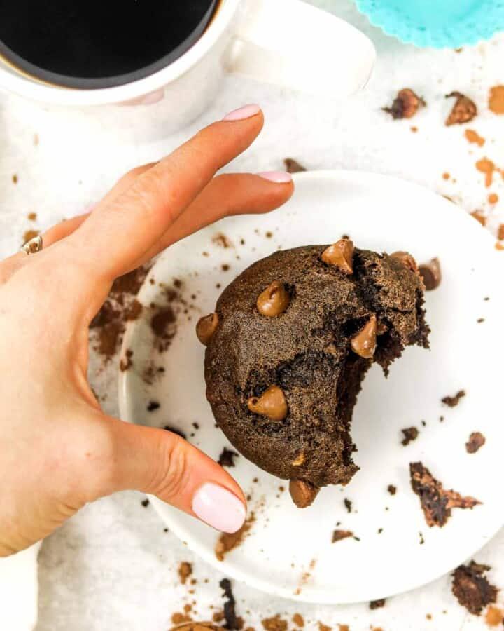 grabbing a Double Chocolate Buckwheat Banana Muffin.