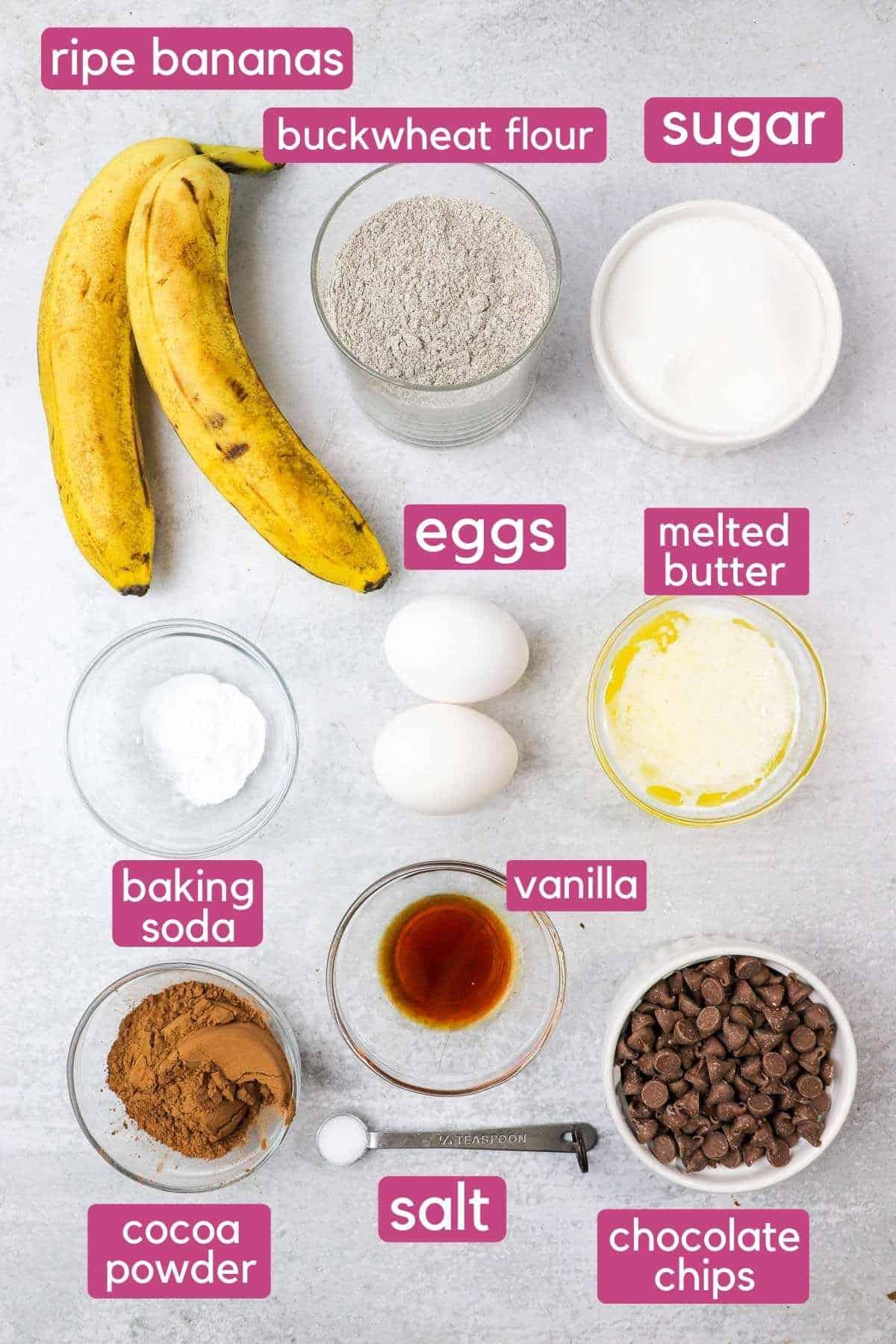 ingredients for double chocolate buckwheat banana muffins.