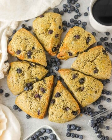 Blueberry yogurt scones in a circle on the counter.