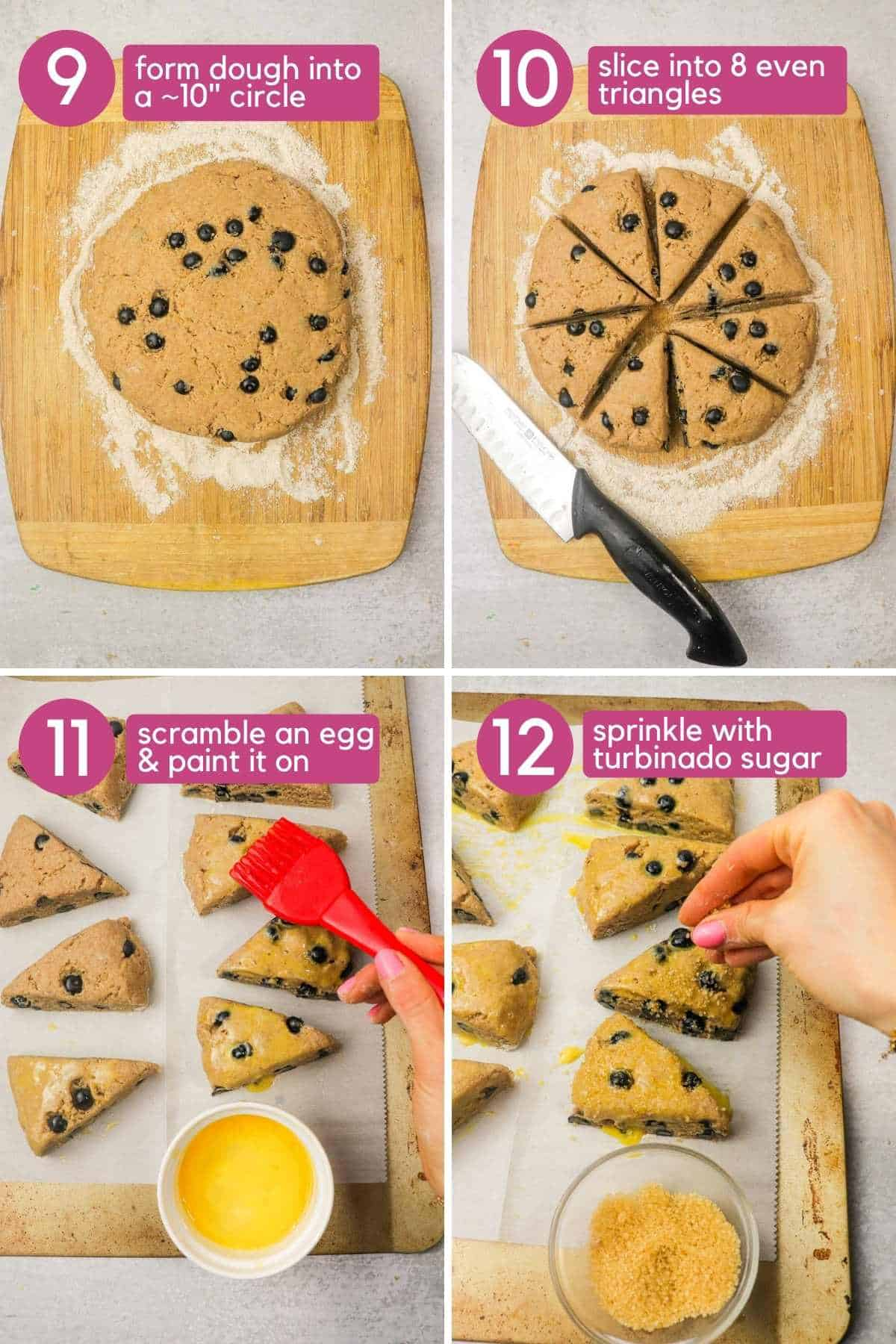 How to cut blueberry yogurt scones and coat with sugar.