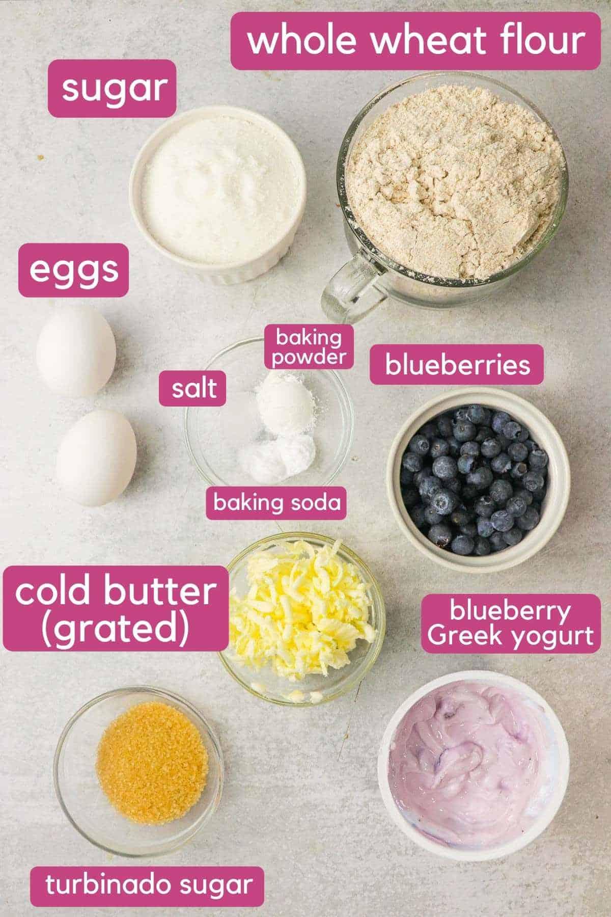 Ingredients needed for blueberry yogurt scones.