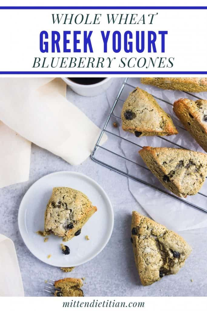You only need 20 minutes to make these easy and healthy whole wheat greek yogurt blueberry scones! A nourishing breakfast or snack!