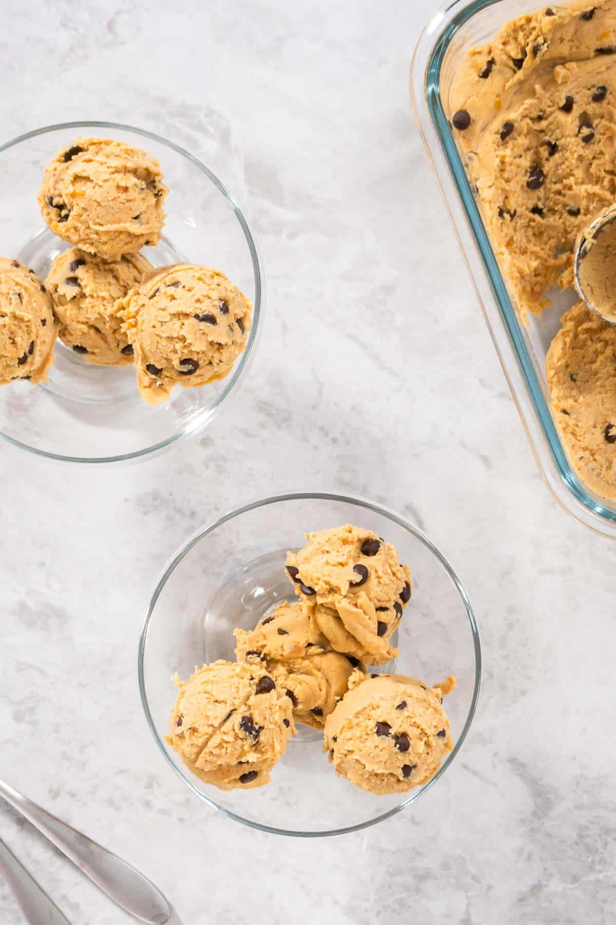 Chickpea Cookie Dough Scooped into bowls