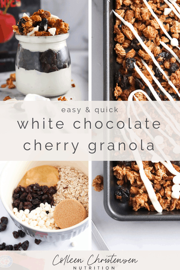 easy & quick white chocolate cherry granola