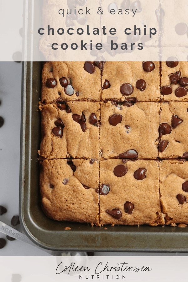 Quick & easy chocolate chip cookie bars