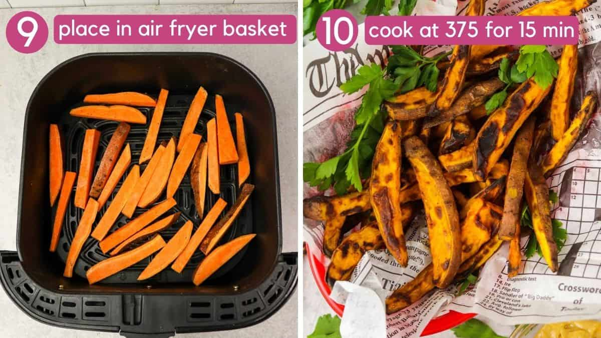how to cook air fryer sweet potato fries.