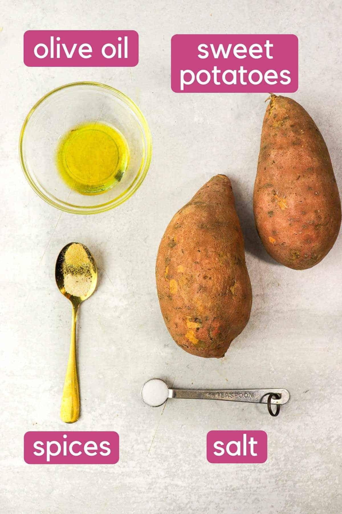 ingredients for air fryer sweet potato fries
