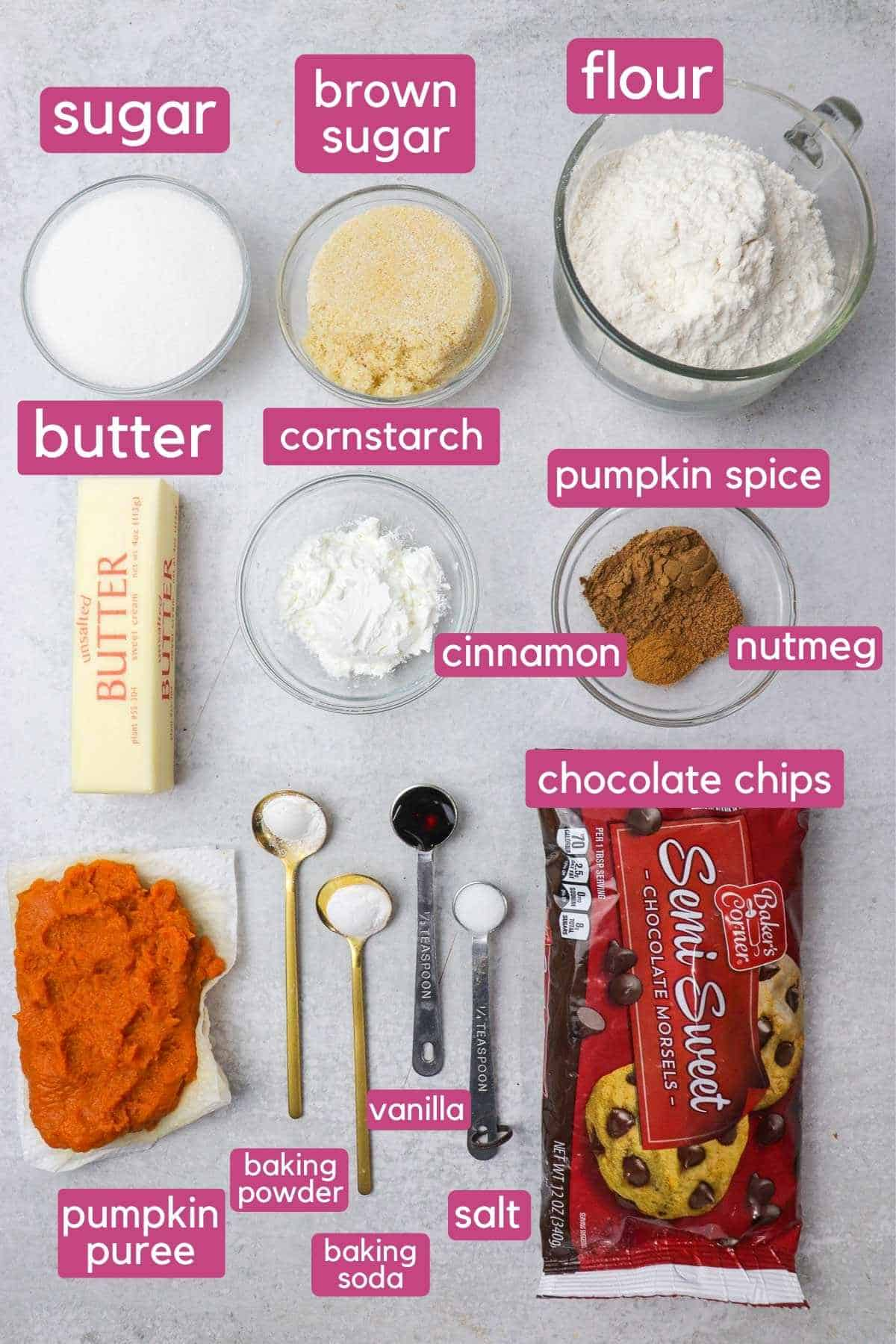 chocolate chip pumpkin cookies ingredients.