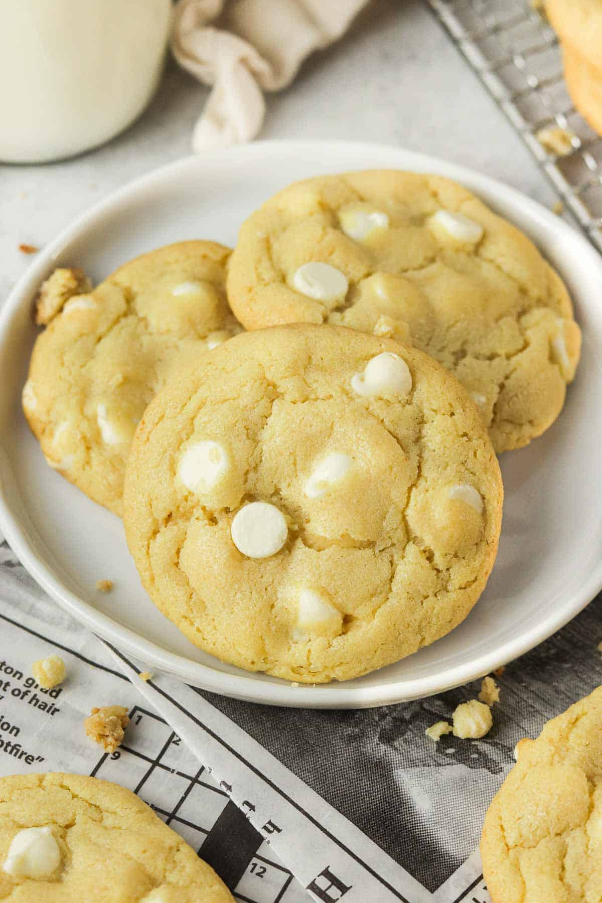 White chocolate chip cookies on a plate