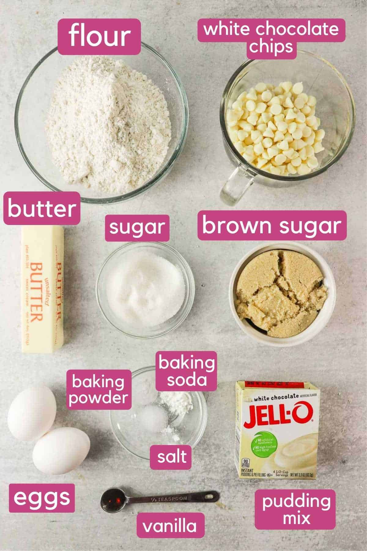 double white chocolate chip cookies ingredients.