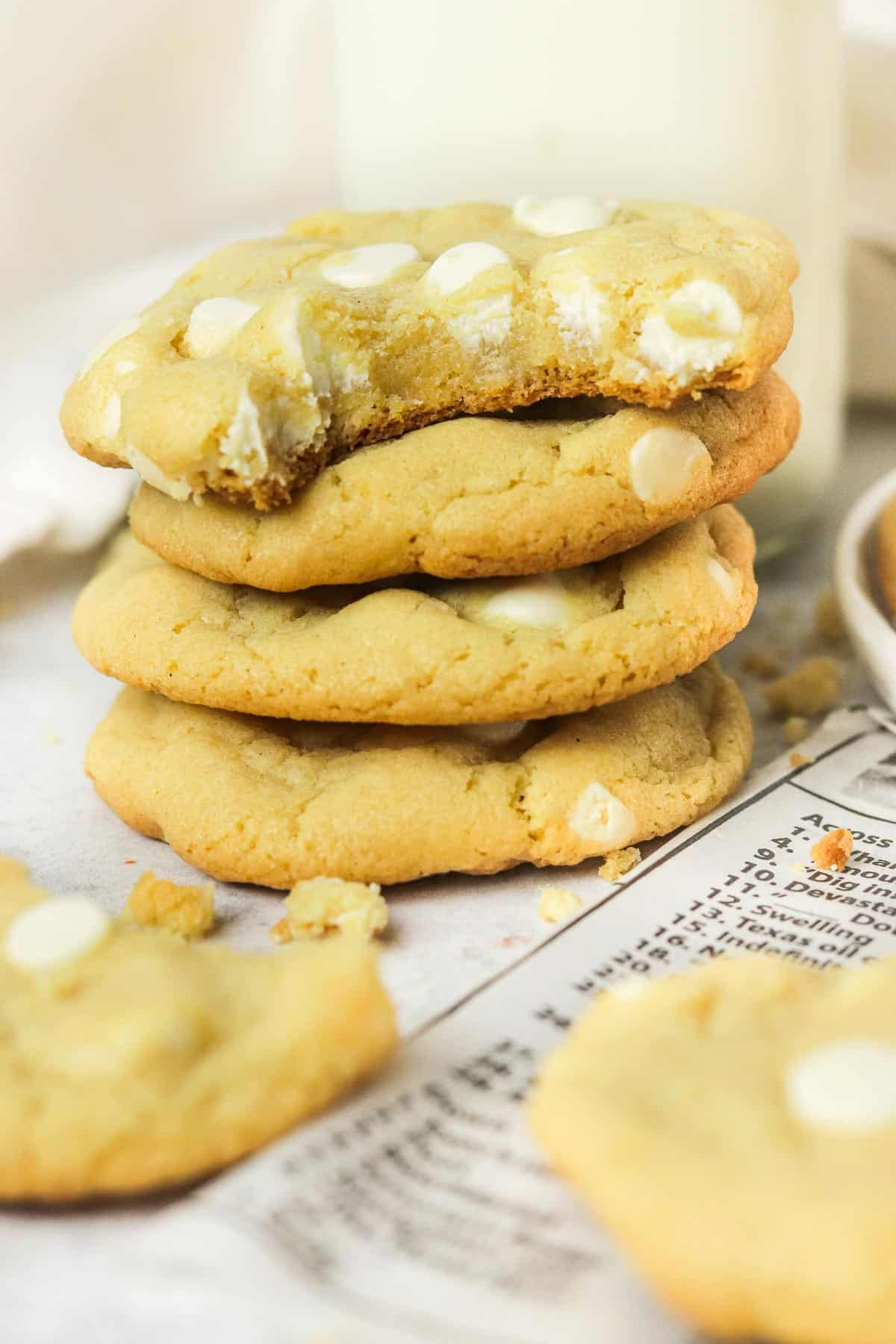 stacked white chocolate chip cookies.