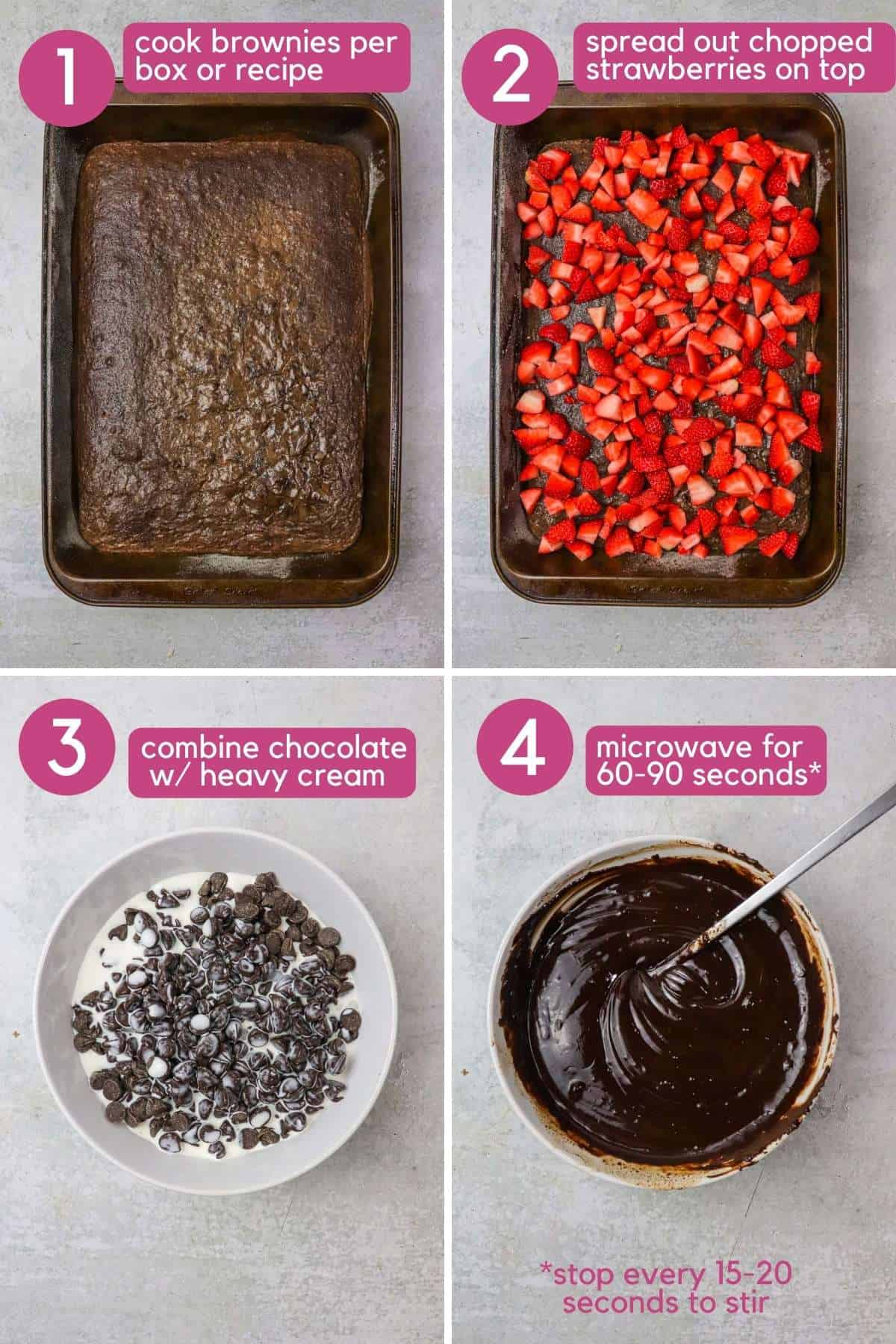 How to make chocolate covered strawberry brownies.