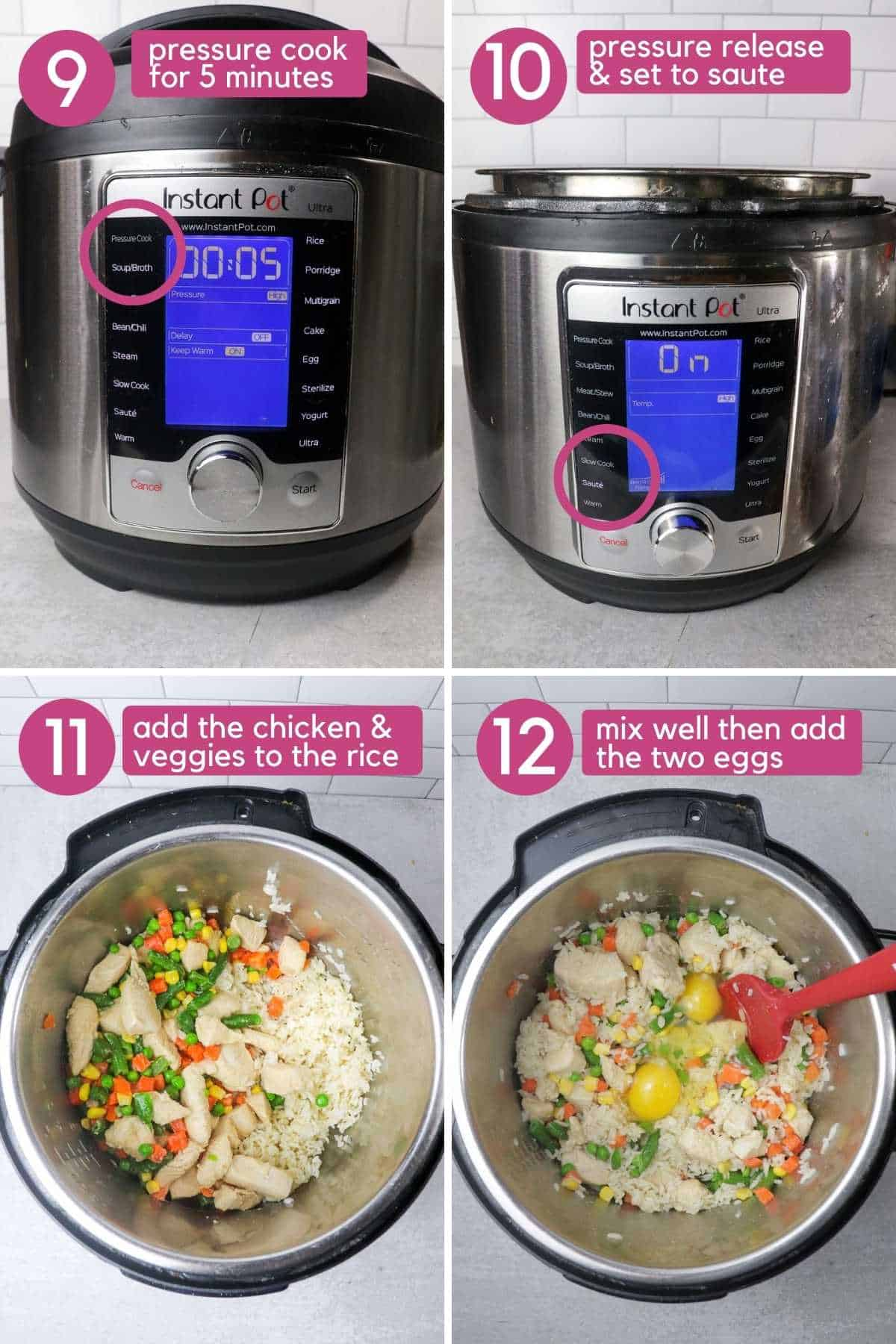 Instant Pot chicken fried rice adding eggs.