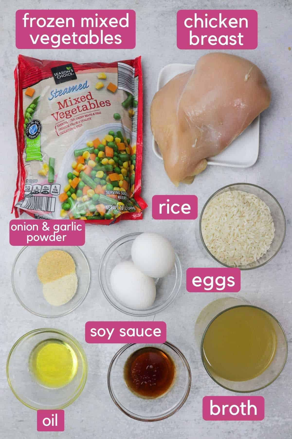Instant Pot chicken fried rice ingredients.
