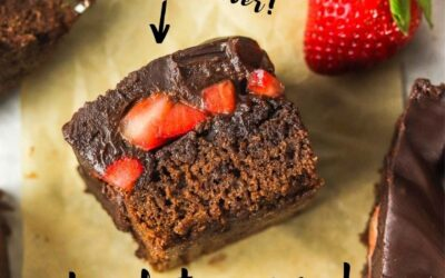 The best ever chocolate covered strawberry brownies.