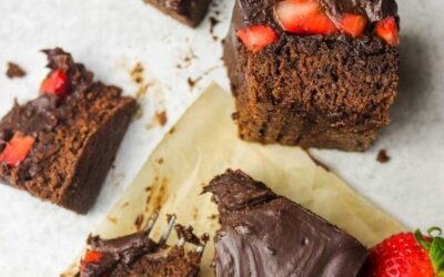 fresh strawberry brownies with chocolate ganache.
