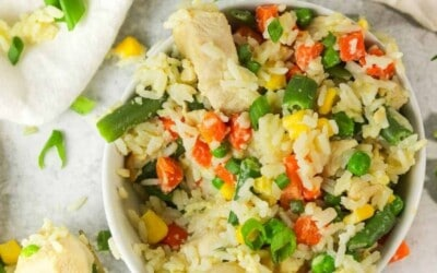 instant pot chicken fried rice packed with veggies and protein.