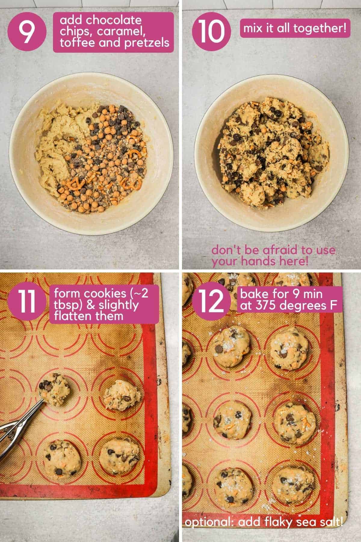 Adding mix-ins to Copycat panera kitchen sink cookies and shaking on a cookie sheet.