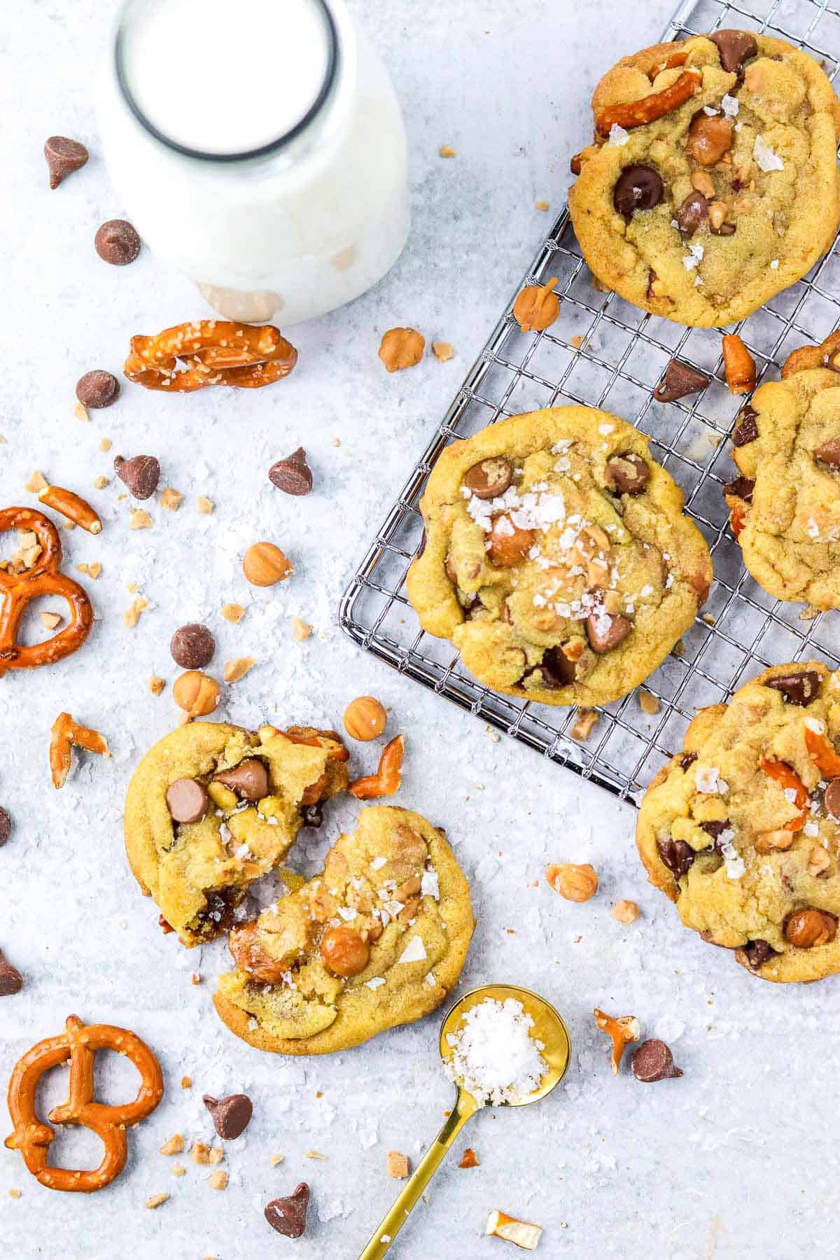 Copy Cat Panera Kitchen sink cookies onthe counter on a cooling rack