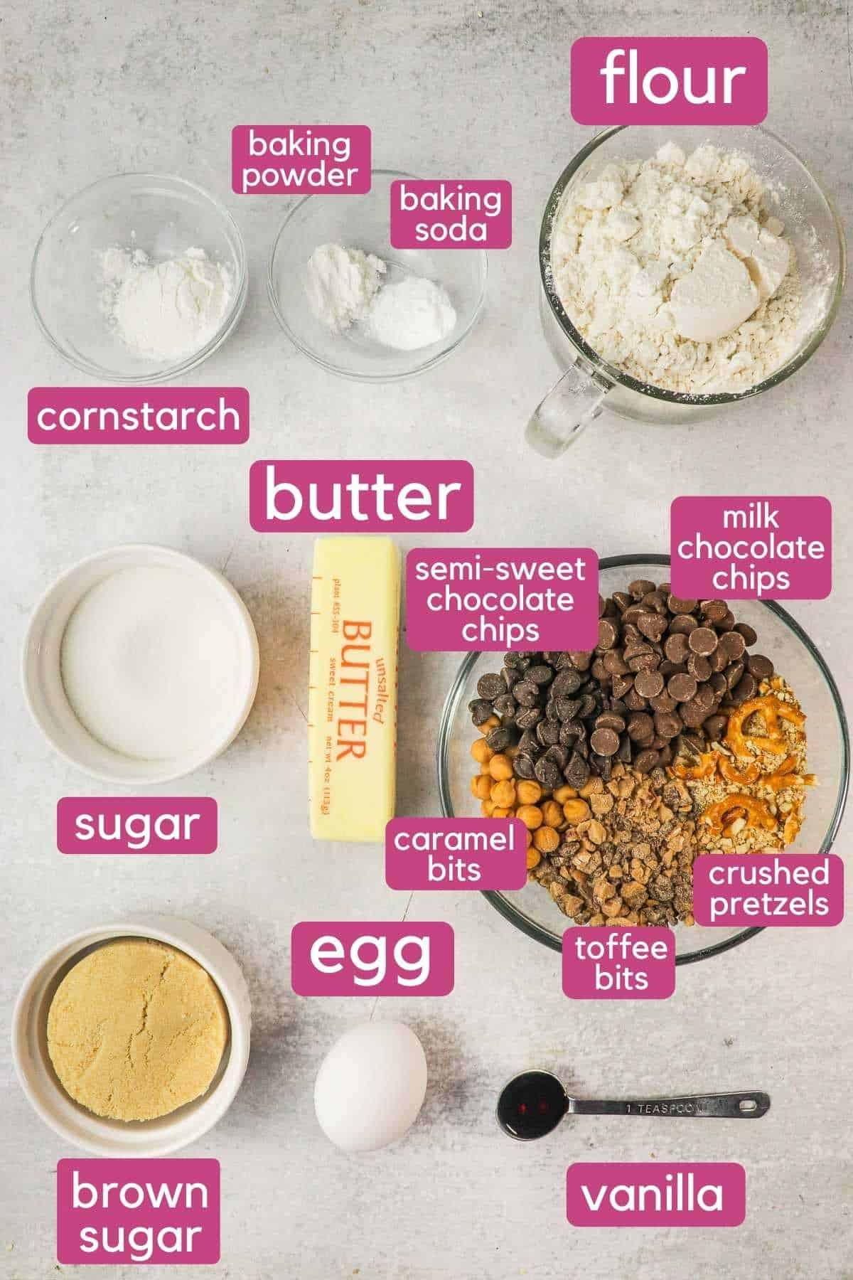 Ingredients for Copycat panera kitchen sink cookies.