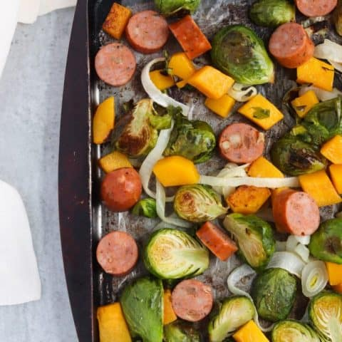 Sheet Pan Butternut, Brussels, and Sausage