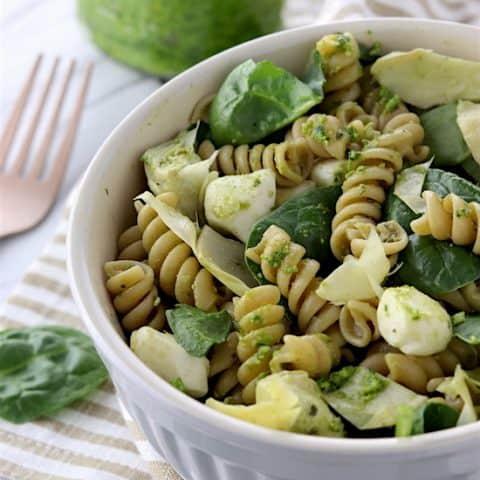 Spinach and Artichoke Whole Wheat Pesto Pasta Salad