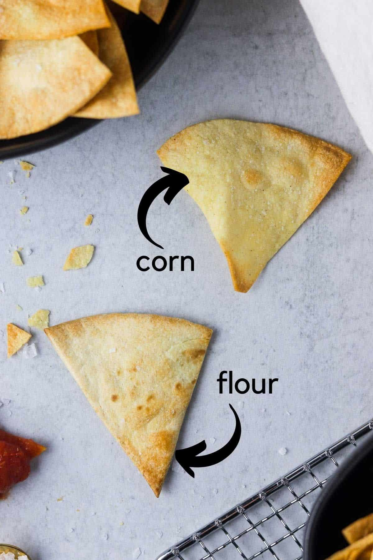 corn and flour tortilla chips
