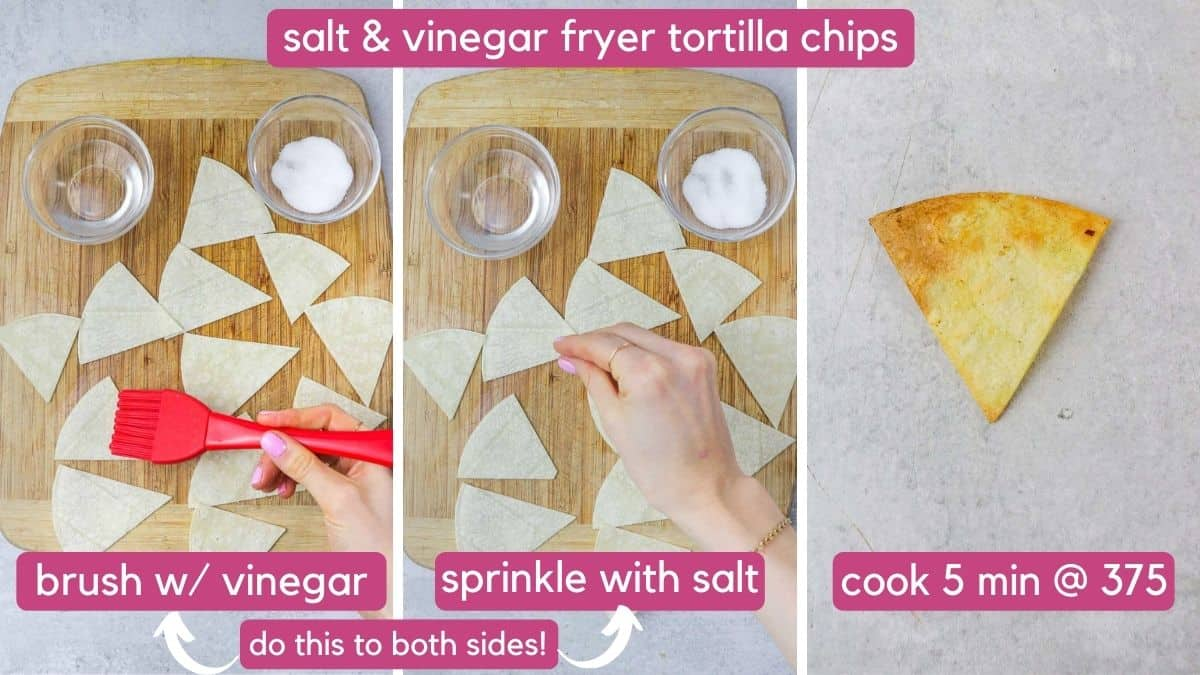 salt & vinegar air fryer totilla chips